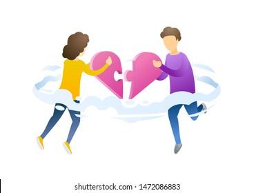 People with heart mosaic flat vector illustration. Perfect match, love in air metaphor. Boyfriend and girlfriend holding heart puzzle pieces cartoon characters. Building romantic relationships.