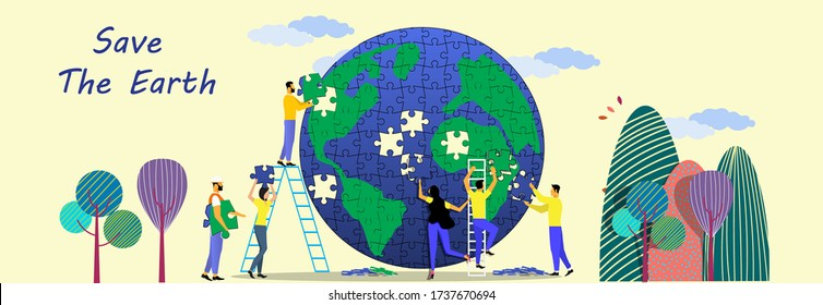 People help each other to puzzle the world.concept save The earth.