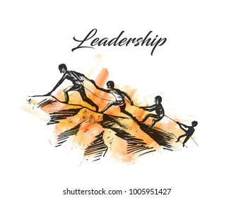 People helping each-other hike up a mountain, Giving a helping hand, and active fit lifestyle concept, Hand Drawn Sketch Vector illustration.