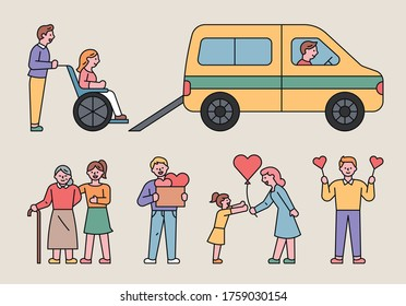 People are helping others in many ways. flat design style minimal vector illustration.
