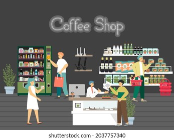 People in hemp shop, CBD store, cannabis dispensary, flat vector illustration. Weed joint smoking accessories.