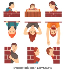 People Hiding Behind Brick Wall and Peeping Set Cartoon Vector Illustration