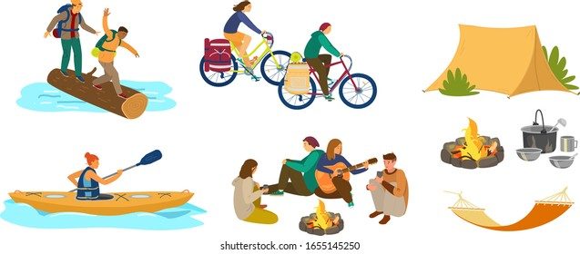 People in hike or camping. Crossing the river by log, couple in bike camping, woman kayaking, group of friends around campfire with guitar, tent, hammock, camping utensils. Flat vector.