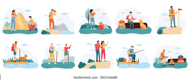 People hikers. Active hiking tourists, outdoor activity camping trip, male and female tourists adventure travel vector illustration set. Characters fishing, pitching tent, playing guitar