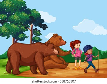 People hiking up the mountain with two bears illustration