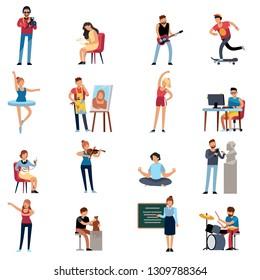 People hobbies. Photographer happy teenage artist writer illustrator designer cartoon vector illustration set