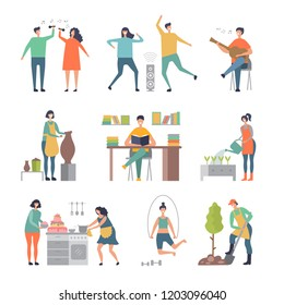 People hobbies. Writers painters male and female characters making sculpture and gardening vector illustrations. People hobby, happy leisure man and woman cooking and playing guitar