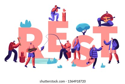 People Hobby at Spare Time Concept. Male and Female Characters Having Rest as Fishing, Taking Pictures, Pick Up Mushrooms, Camping. Poster, Banner, Flyer, Brochure. Cartoon Flat Vector Illustration