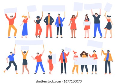 People hold banners. Activists with placards, peaceful rights protest, manifestation, men and women parade participation vector illustration set. Parade rights, adult picket and strike