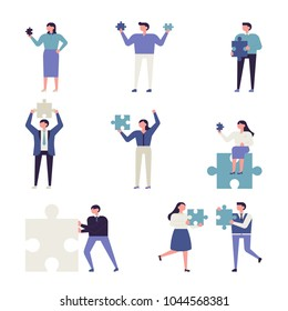 people hold blue puzzle. vector illustration flat design