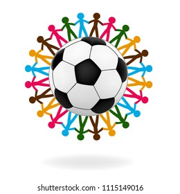 People hold hand around ball graphic vector