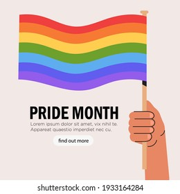 People hold in hand flag with lgbt rainbow during pride month celebration against violence, descrimination, human rights violation. Lgbt greeting card, square banner or poster.