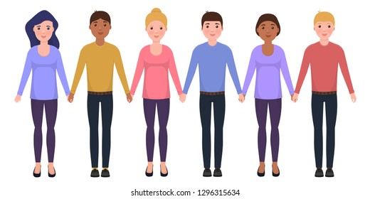 People hold hands, characters in flat style, Friendship vector illustration