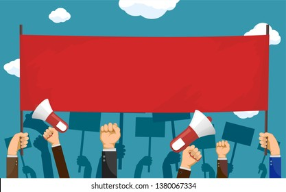 People hold red blank banner with copy-space. Pickets and demonstrations. Strike of workers. Vector illustration.