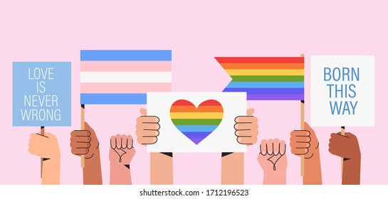 People hold signs, banner and placards with lgbt rainbow and transgender flag during pride month celebration against violence, descrimination, human rights violation. Equality and self-affirmarmation.