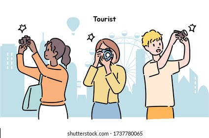 People are holding cameras and taking pictures. hand drawn style vector design illustrations.