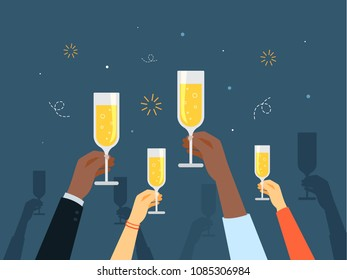 People holding champagne glasses celebrating and having fun.