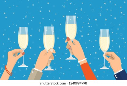 People holding champagne glasses celebrating and having fun. Merry christmas holiday. New year and xmas celebration Vector illustration in a flat style