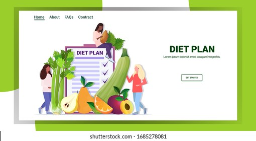 people holding different organic fruits herbs mix race women planning weight loss program diet plan healthy nutrition concept horizontal copy space vector illustration