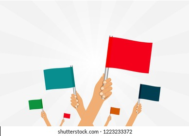 people holding the flag in their hands vector work