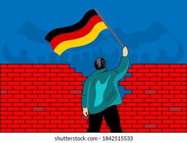 People holding German flags separated by a wall. Concept for the union of West Germany and East Germany. Fall of the berlin wall