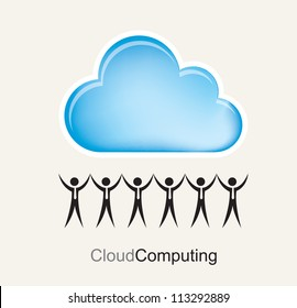 people holding the great cloud computing with information