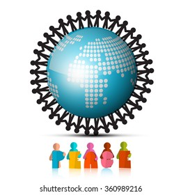 People Holding Hands Around Globe and Peace Paper Cut Title