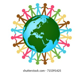 people holding hands around the world graphic vector