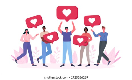 People are holding like notifications. Male and female followers gives like on social media. Like icon. Marketing, SMM, CEO, Business. Landing page, template, ui, web. Flat cartoon vector illustration.