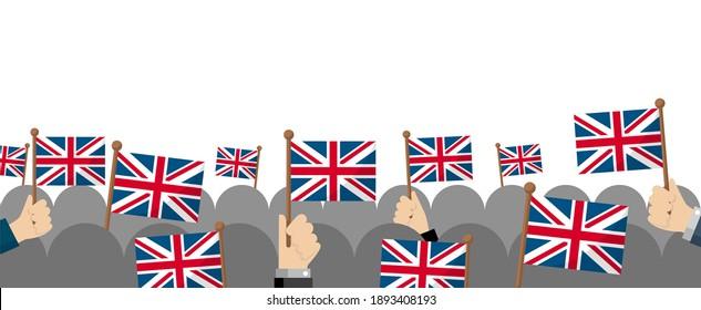 People holding the national flag in hand , vector banner illustration | UK, united kingdom, England