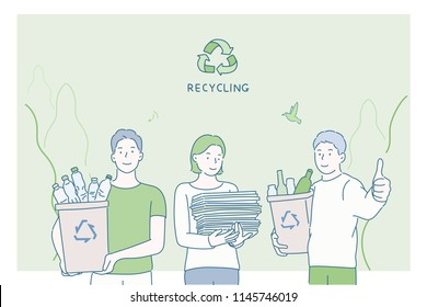 People holding recyclables. Public service advertising poster concept. hand drawn style vector design illustrations.
