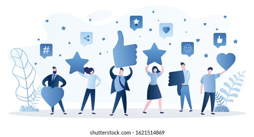People are holding signs in hands. Feedback consumer or customer review evaluation, satisfaction level and critical icon. Business satisfaction support. Humans rate and gaving stars,hearts. Vector