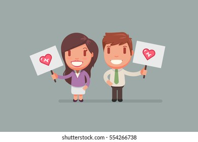 people holding signs vector illustration