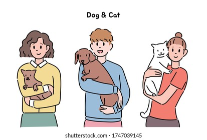People are holding small, cute dogs and puppies. hand drawn style vector design illustrations.