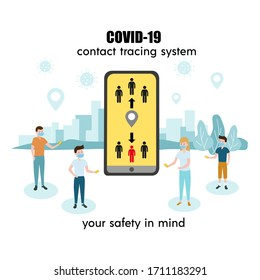 People holding smartphone with Covid-19 contact tracing system, transmit data, alert message about coronavirus risk contact. Banner, poster. Flat vector illustration, isolated objects.