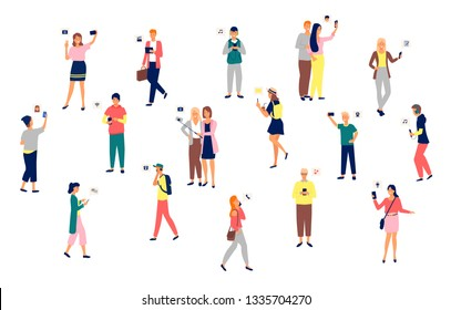 People holding smartphones in hands vector, set of man and woman. Mobile phone, selfies and listening to music, applications for connection, wifi