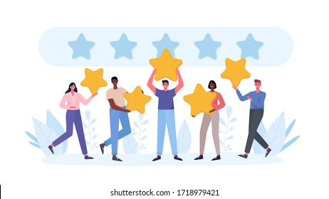 People are holding stars, giving five star Feedback. Clients choosing satisfaction rating and leaving positive review. Feedback consumer, customer review evaluation. Flat cartoon vector illustration.