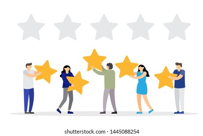 People are holding stars over the heads. Feedback consumer or customer review evaluation. The best estimate of performance, the score of five stars. vector illustration