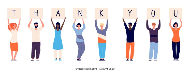 People holding thank you. Woman man standing with plates letters. Isolated international crowd thanks doctors paramedics police and other vector illustration