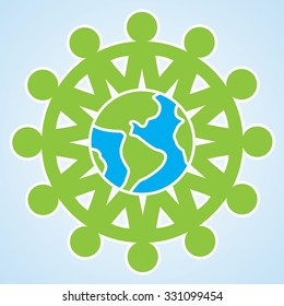 The people are holding their hands to each other around the planet Earth. vector unity eco icon isolated illustration element