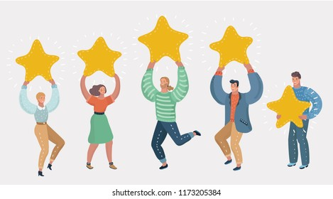 People holding in their hands gold stars. Men and women rate services and user experience. Juries rating in the competition. Four stars positive review or good feedback. Vector cartoon illustration