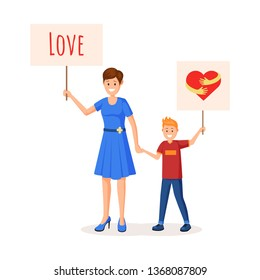 People holding transporants, posters with heart. Flat style vector illustration. Colorful red hug sign logo on poster