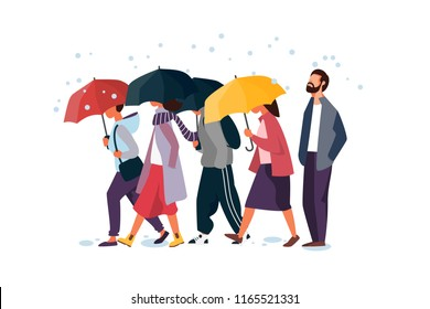 People holding umbrella, walking under the rain. Autumn fall weather season, rainy day. Man and woman characters vector illustration.