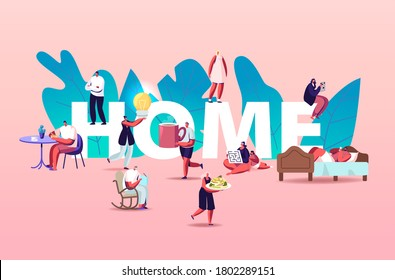 People at Home Concept. Male Female Characters Eating, Cooking Food, Read Books and Making Favorite Hobbies, Playing with Kids, Spend Time with Family. Poster Banner Flyer Cartoon Vector Illustration