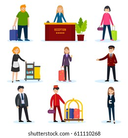People in hotel set with tourists customers receptionist porter manager security and cleaning staff isolated vector illustration