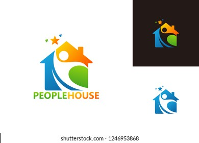 People House Logo Template Design Vector, Emblem, Design Concept, Creative Symbol, Icon