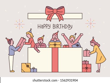 People in a huge gift box. People are holding gift boxes and celebrating. flat design style minimal vector illustration.