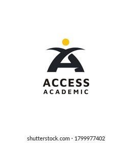 People Human with Initial Letter A and Bridge for Academic Access Community logo design
