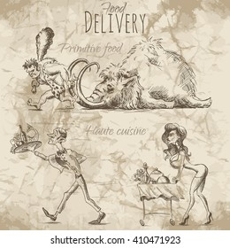 People in a hurry to deliver food and drinks on different ways. Vector illustration on the old paper background.