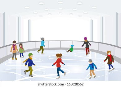 People Ice Skating on indoor Ice Rink